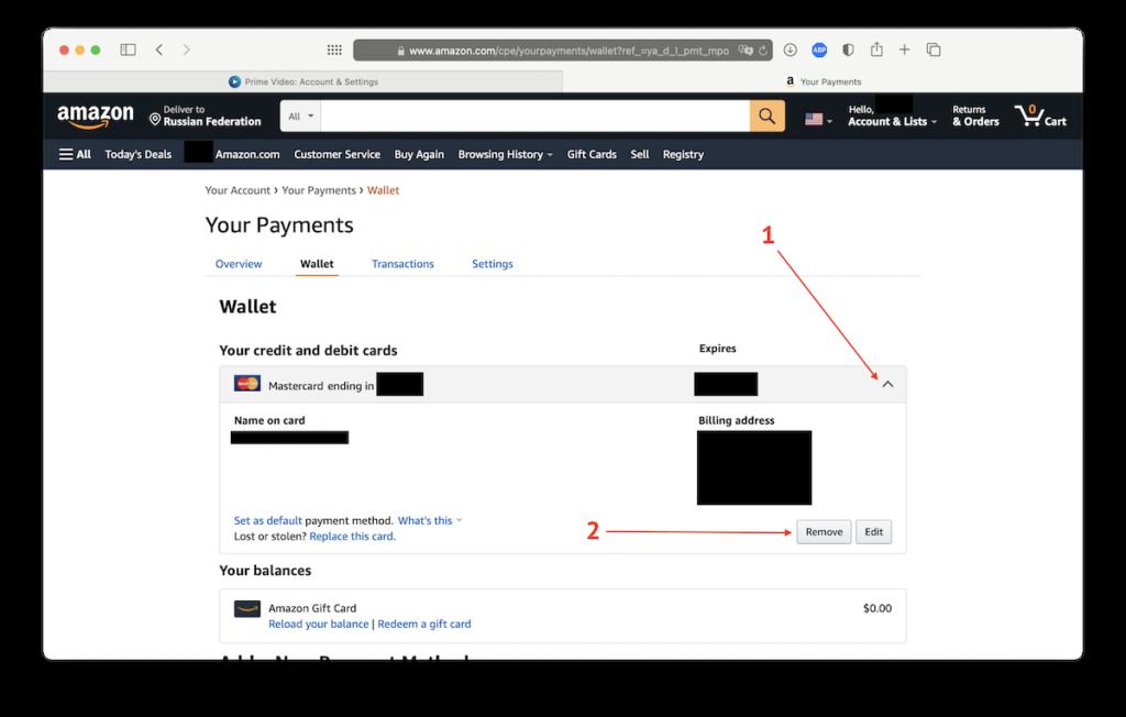 Отвязываем банковскую карту от Amazon
