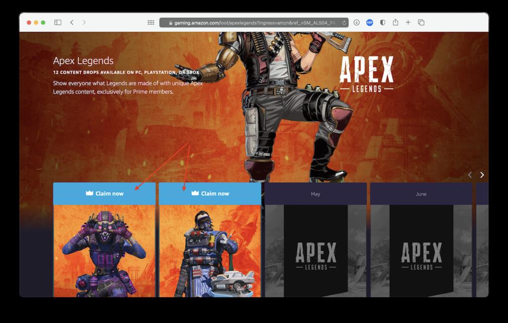 Получение наград Twitch Prime в Apex Legends