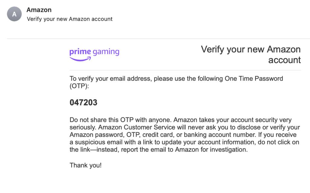 Письмо от Amazon с кодом