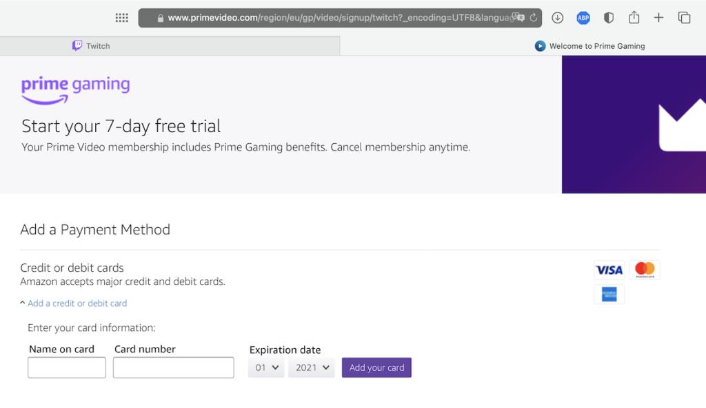 Страница добавления банковской карты Twitch Prime